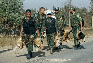 Members of the Syrian army have no issue in stealing everything they can from civilians.