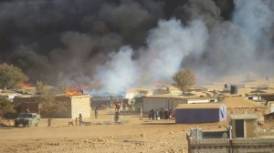 The attack by the Lebanese army led to the burning of a large section of the refugee camps