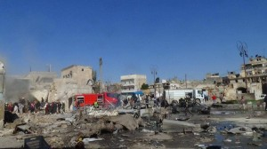 The area hit by the barrel in Qadi Askar