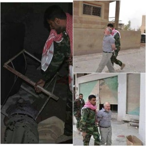 Abu Shahd al-Jabouri documents himself arresting, torturing and killing an elderly citizen from the city of Al-Nabak, Syria.