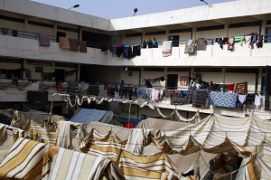 Many schools in Syria are being used as shelters for displaced people.