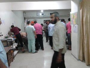 The field hospital in al-Baab as the injured were brought in following the dropping of a bomb at the mosque after eid prayers