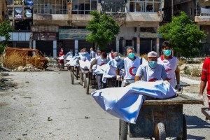 The operation took place with the use of hawkers carts, as vehicles are not allowed in the Karraj Crossing.