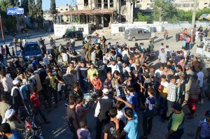 The released detainees are greeted in Areeha, rural Idlib, today.