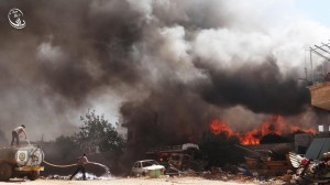Fires erupted in different areas within Daraya