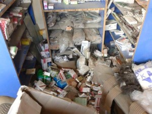 Material damage caused to the pharmacy opposite the hospital