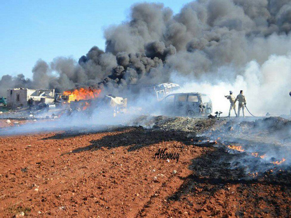 Large fires erupted when the fuel was set alight by the attack.