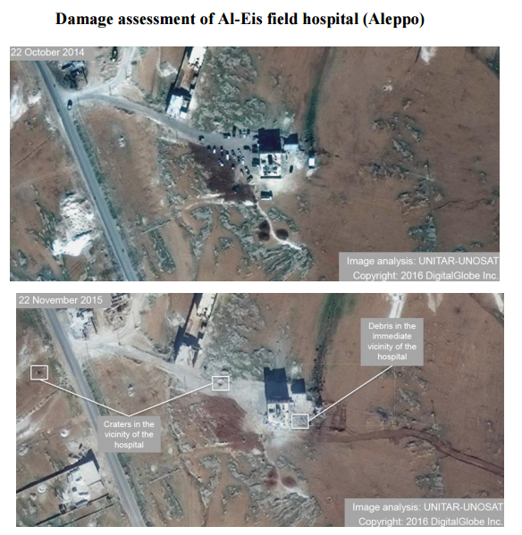 The report used satellite images to reveal the extent of destruction in various areas in Syria