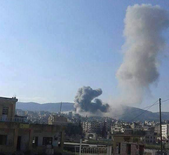 The moment in which the city of Jisr al-Shughoor was attacked