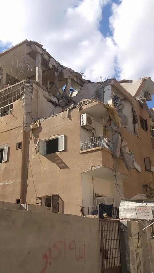 """The building targeted in Thaknah district. Photo taken from the """"Raqqah Slaughtered in Silence"""" page."""