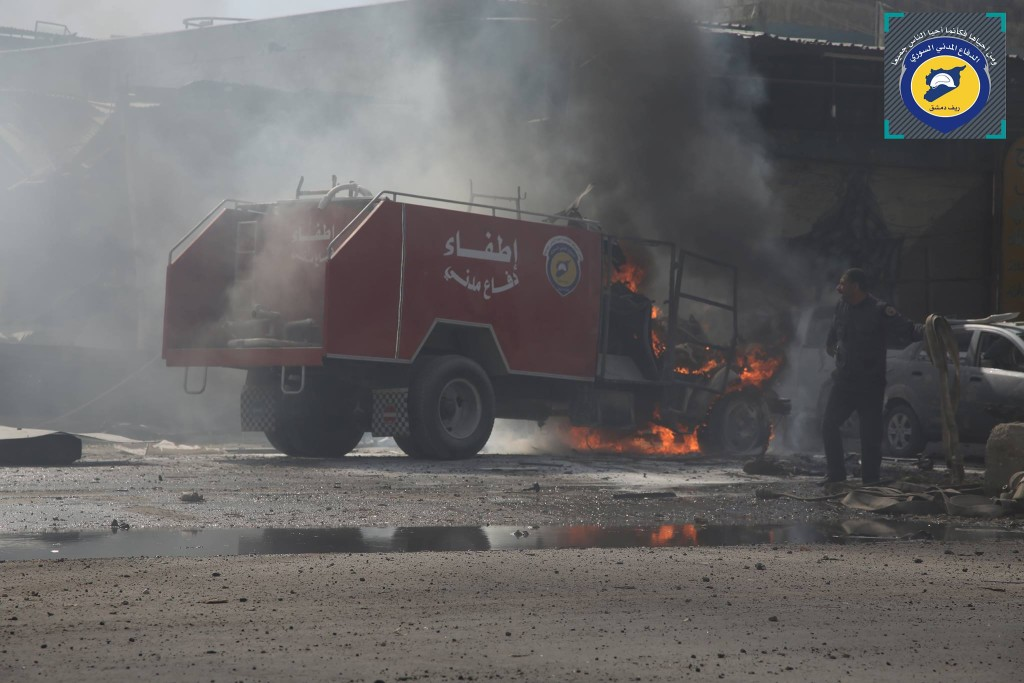 burning fire engine