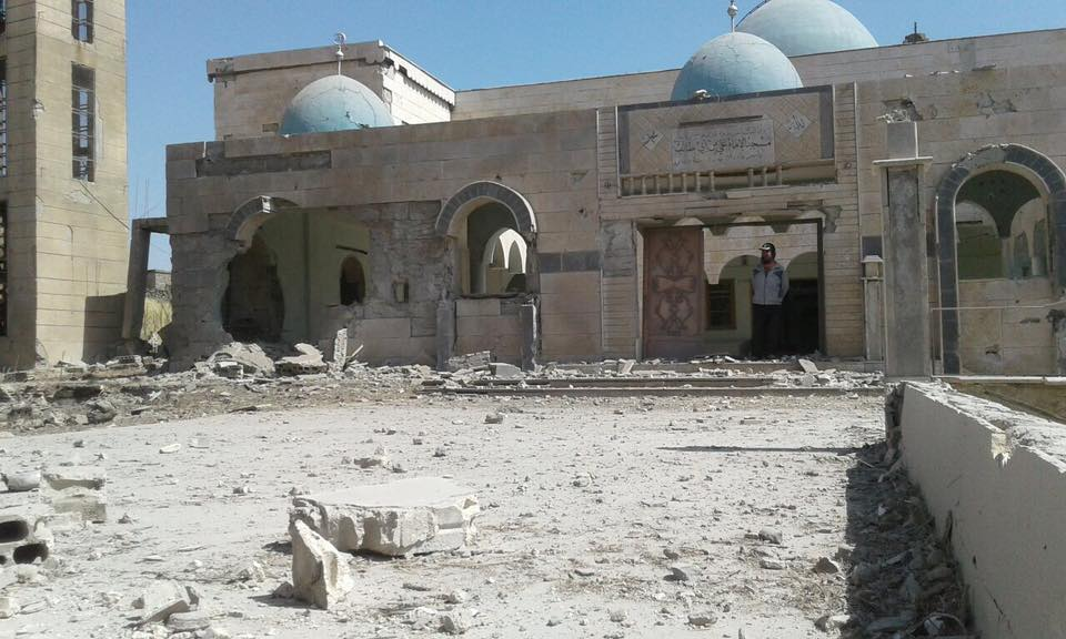 The Ali ibn abi Talib mosque which was mostly destroyed