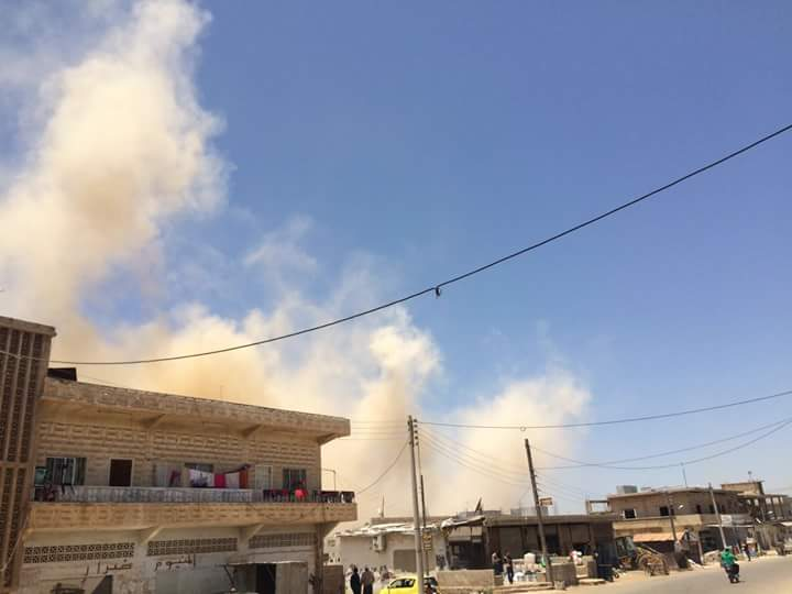 The moment in which one of the barrel bombs fell on Saida