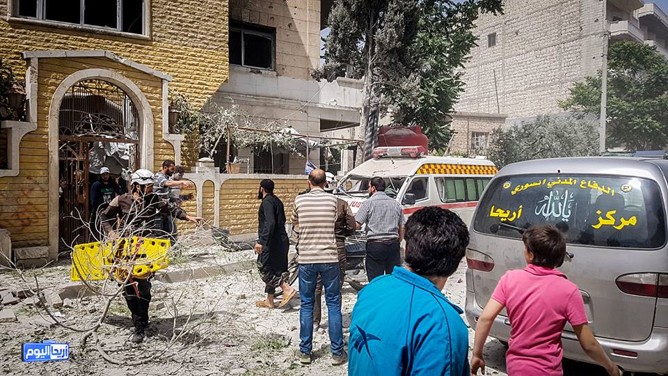 The air strikes targeted a birth centre as well as a centre for the Syrian Red Crescent