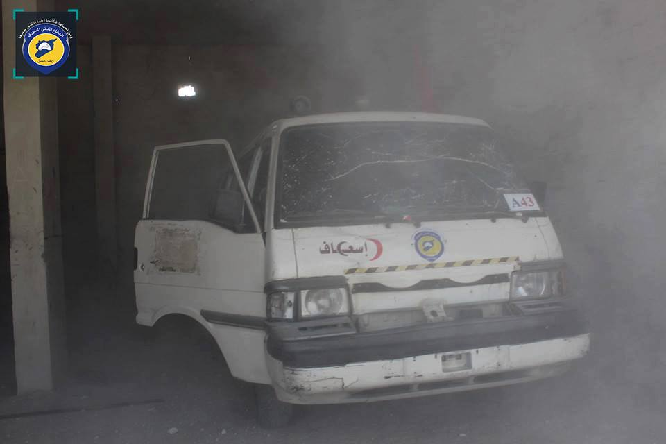 The ambulance which was hit by the bomb