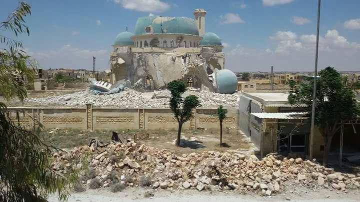 The bombing destroyed the Suhaib al-Rumi mosque