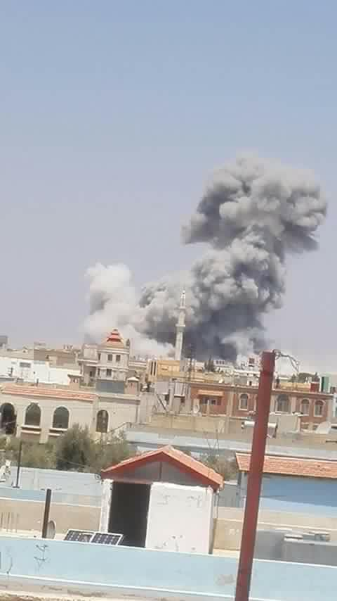 The moment in which the air strike struck the hospital on Sunday noon.