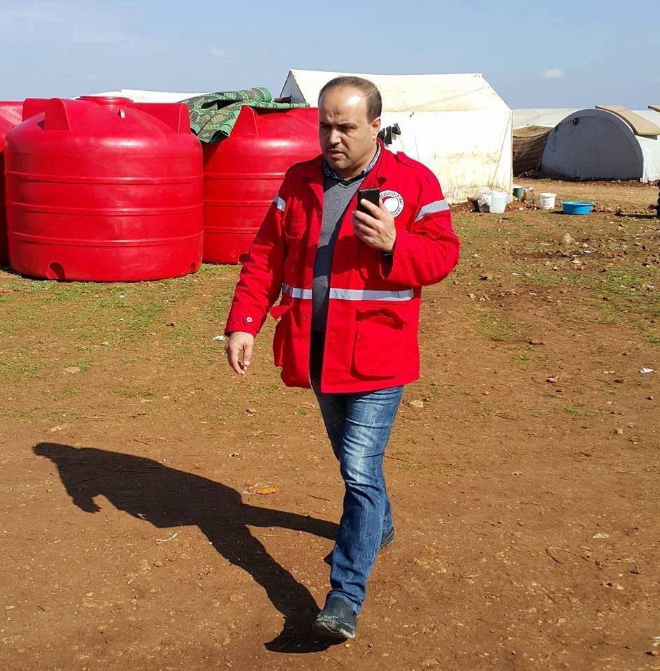 Omar Barakat, Director of the Syrian Red Crescent in western rural Aleppo, was killed in the attack.