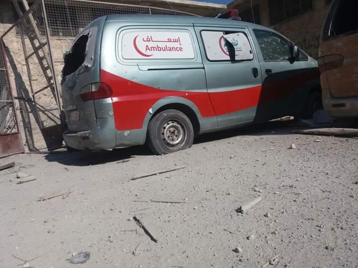 Ambulances were damaged by the bombing.