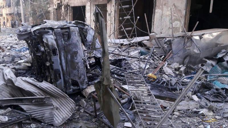 The after effects of the bombing on al-Mashhad