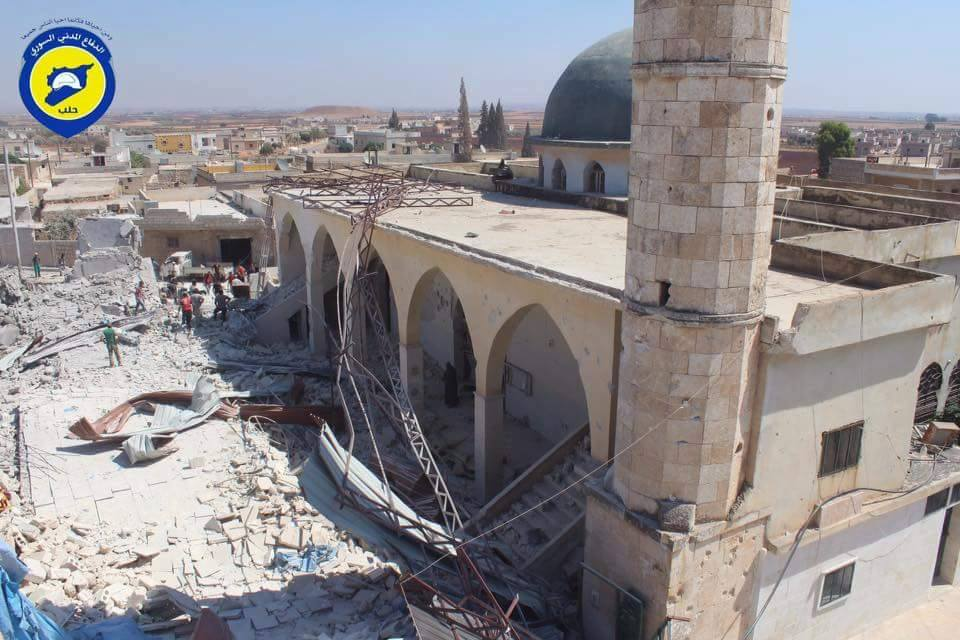 The mosque of Musa bin Nuseir, which was targeted in an air strike