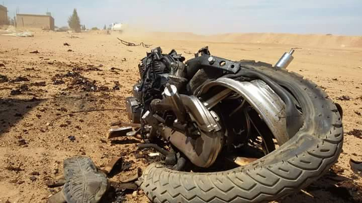 The remains of the motorcycle used by the suicide bomber