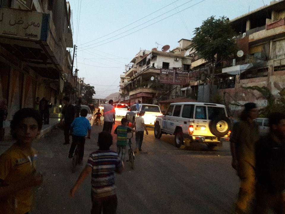 The convoy enters Madaya