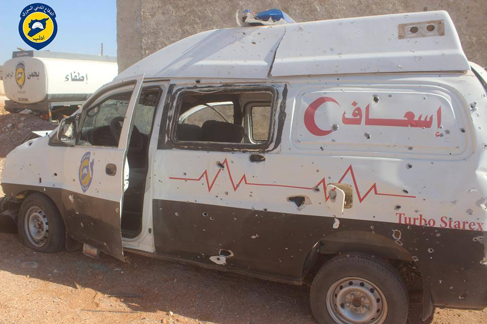 An ambulance which was targeted when a civil defence centre was targeted in Saraqib on 11/09/2016