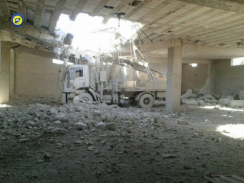 The bombing on the civil defence centre of Urum al-Kubra destroyed it completely