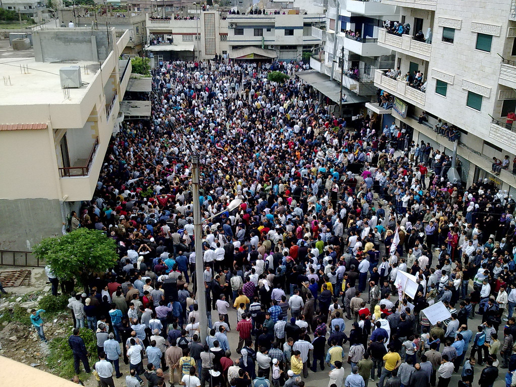 The protests were of a peaceful nature during 2011, but this did not stop the Syrian authorities from using excessive force against protesters. Picture taken from protest in Banyas- 29/04/11