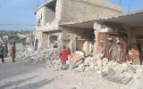 من آثار القصف على القرية يوم أمس