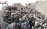 مكان سقوط البرميل في حي الحميدية-الصورة عن مركز دير الزور الأخباري