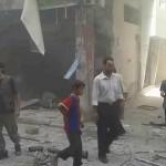 أثر الغارات على مدينة عربين 1-9-2015