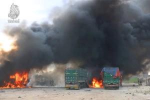 غارة روسية تستهدف كراجاً للشاحنات في مدينة اعزاز