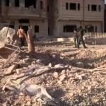 استهداف مشفى مدينة نوى في محافظة درعا بالبراميل المتفجرة 19-11-2015