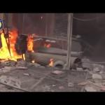 لحظة استهداف كوادر الدفاع المدني في مدينة دوما 18-2-2016