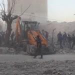 آثار غارة بالصواريخ الفراغية على سراقب في ريف إدلب 5-11-2016