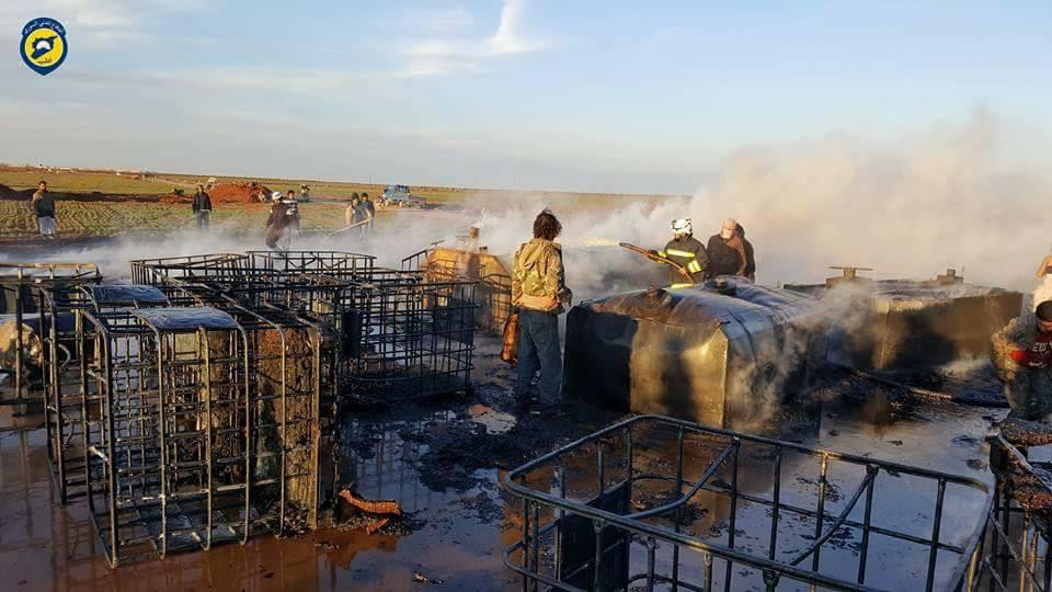 استهدف القصف على ريف معرة النعمان محطة لتكرير الوقود