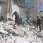 الطيران الحربي يستهدف أحياء إدلب