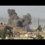 استهداف الاحياء السكنية في بصرى الشام في ريف درعا من الطيران الحربي الروسي